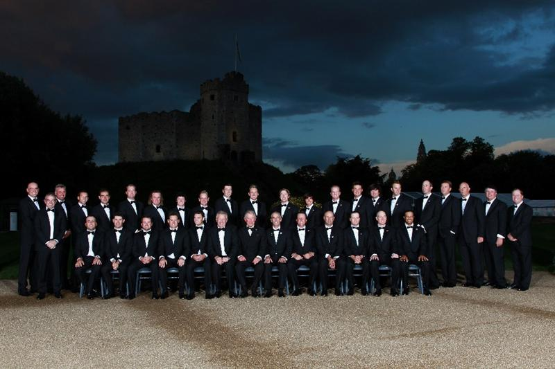 CARDIFF, WALES - SEPTEMBER 29:  The European and United States Ryder Cup teams pose for an official photographer with HRH Prince Charles, The Prince of Wales before the 2010 Ryder Cup Dinner at Cardiff Castle on September 29, 2010 in Cardiff, Wales.  (Photo by Andrew Redington/Getty Images)