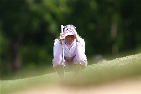 BROKEN ARROW, OK - MAY 03: Paula Cremer lines up a putt on the 15th hole during the third round of the SemGroup Championship presented by John Q. Hammons on May 3, 2008 at Cedar Ridge Country Club in Broken Arrow, Oklahoma. (Photo by G. Newman Lowrance/Getty Images)