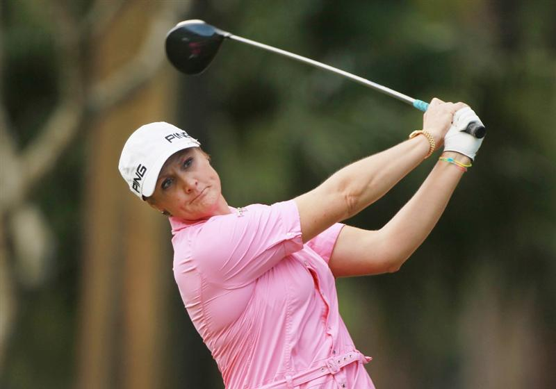 RIO DE JANEIRO, BRAZIL - MAY 29:  Maria Hjorth of Sweden hits her tee shot on the 17th hole during the final round of the HSBC LPGA Brazil Cup at the Itanhanga Golf Club on May 29, 2011 in Rio de Janeiro, Brazil.  (Photo by Scott Halleran/Getty Images)