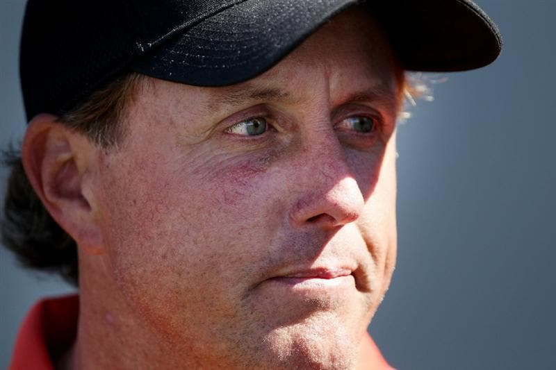 MARANA, AZ - FEBRUARY 24:  Phil Mickelson looks on after losing to Rickie Fowler (not pictured) during the second round of the Accenture Match Play Championship at the Ritz-Carlton Golf Club on February 24, 2011 in Marana, Arizona.  (Photo by Andy Lyons/Getty Images)