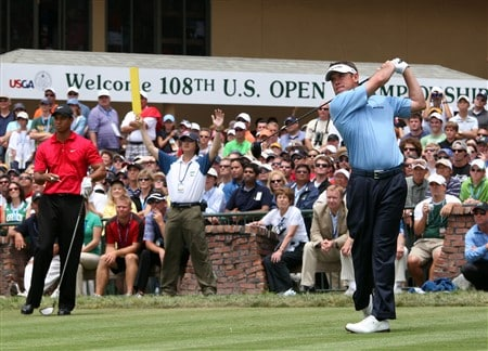 SAN DIEGO - JUNE 15:  Lee Westwood of England watches his tee shot on the first hole during the final round of the 108th U.S. Open at the Torrey Pines Golf Course (South Course) on June 15, 2008 in San Diego, California.  (Photo by Ross Kinnaird/Getty Images)