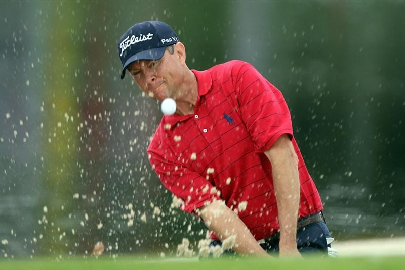 ORLANDO, FL - MARCH 26:  Davis Love III plays a bunker shot on the 17th hole during the second round of the Arnold Palmer Invitational presented by MasterCard at the Bayhill Club and Lodge on March 26, 2010 in Orlando, Florida.  (Photo by Scott Halleran/Getty Images)