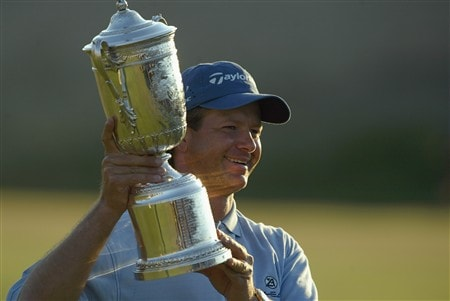 SOUTHAMPTON, NY - JUNE 20:  Retief Goosen poses with the trophy after winning the 104th U.S. Open at Shinnecock Hills Golf Club on June 20, 2004 in Southampton, New York.  (Photo by Andy Lyons/Getty Images)