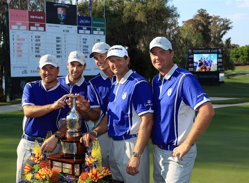 WINDERMERE, FL - MARCH 15:  Members of the victorious Lake Nona Team after the second day of the 2011 Tavistock Cup at Isleworth Golf and Country Club on March 15, 2011 in Windermere, Florida.  (Photo by David Cannon/Getty Images)