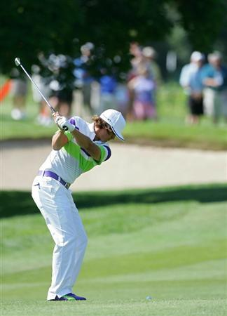 CROMWELL, CT - JUNE 25:  Rickie Fowler hits a shot from the fairway during the second round of the Travelers Championship held at TPC River Highlands on June 25, 2010 in Cromwell, Connecticut.  (Photo by Michael Cohen/Getty Images)
