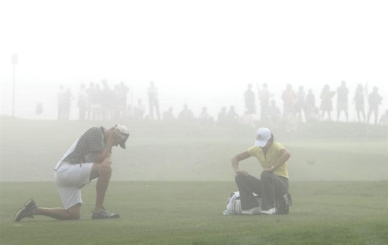 HALF MOON BAY, CA - OCTOBER 02:  Lorena Ochoa waits to hit during a delay in play due to thick fog on the second hole during the first round of the Samsung World Championship at the Half Moon Bay Golf Links Ocean Course on October 2nd, 2008 in Half Moon Bay, California.  (Photo by Jonathan Ferrey/Getty Images)