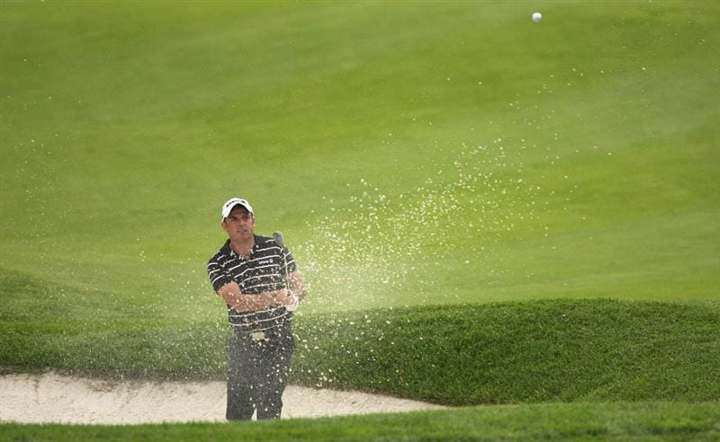 GIRONA, SPAIN - APRIL 30:  Paul McGinley of Ireland plays out of the 18th greenside bunker during the first round of the Open de Espana at the PGA Golf Catalunya on April 30, 2009 in Girona, Spain.  (Photo by Warren Little/Getty Images)