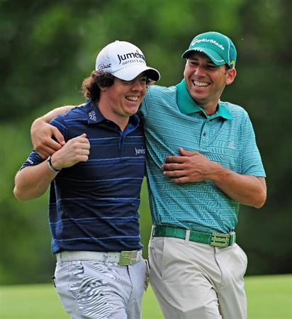 AKRON, OH - AUGUST 05:  Rory McIlroy of Northern Ireland and Sergio Garcia of Spain enjoy themselves during a practice round of the World Golf Championship Bridgestone Invitational on August 5, 2009 at Firestone Country Club in Akron, Ohio.  (Photo by Stuart Franklin/Getty Images)