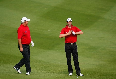 SHENZHEN, CHINA - NOVEMBER 23:  Stephen Dodd and Bradley Dredge of Wales on the nineth hole during the second round of the Omega Mission Hills World Cup at the Mission Hills Golf Resort on November 23, 2007 in Shenzhen, China.  (Photo by Stuart Franklin/Getty Images)