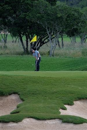 SAN ANTONIO, TX- MAY 13:  Richard S. Johnson hits a chip shot to the 2nd green  during the first round of the Valero Texas Open at the TPC San Antonio on May 13, 2010 in San Antonio, Texas. (Photo by Marc Feldman/Getty Images)