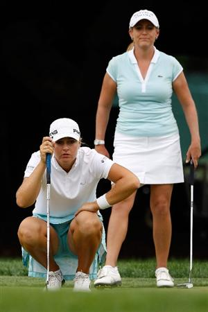 BETHLEHEM, PA - JULY 10:  Anna Nordqvist of Sweden and Cristie Kerr line up their putts on the 16th hole during the second round of the 2009 U.S. Women's Open at Saucon Valley Country Club on July 10, 2009 in Bethlehem, Pennsylvania.  (Photo by Chris Graythen/Getty Images)