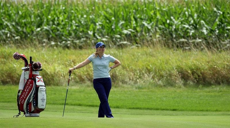 SUGAR GROVE, IL - AUGUST 21:  Morgan Pressel of the USA waiting to play her 2nd shot at the 7th hole during the Friday morning fourball matches at the 2009 Solheim Cup Matches, at the Rich Harvest Farms Golf Club on August 21, 2009 in Sugar Grove, Ilinois  (Photo by David Cannon/Getty Images)