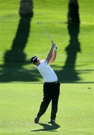 LA QUINTA, CA - JANUARY 23:  Daniel Summerhays hits his second shot on the 11th hole during the final round of the Bob Hope Classic on the Palmer Private Course at PGA West on January 23, 2011 in La Quinta, California.  (Photo by Stephen Dunn/Getty Images)