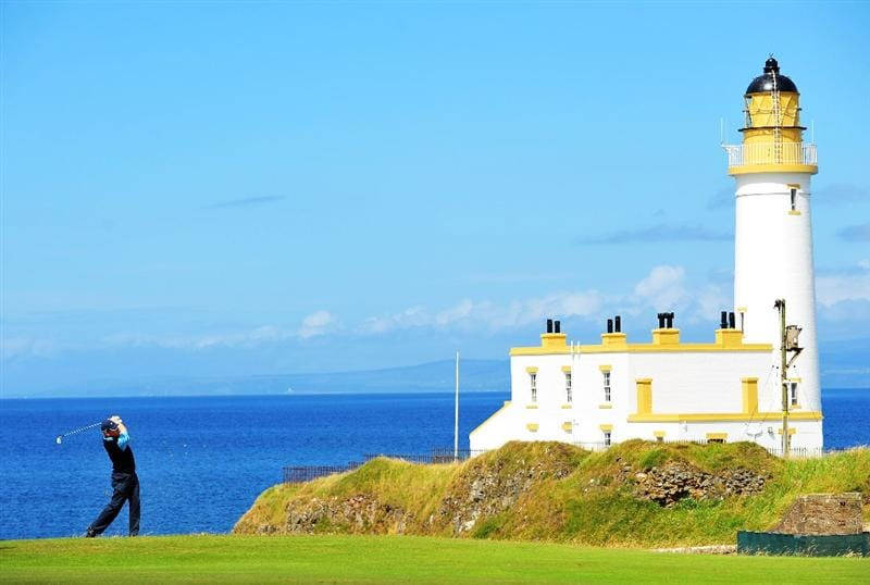 TURNBERRY, SCOTLAND - JULY 13:  Justin Leonard of the USA on the ninth hole during the practice round of the 138th Open Championship on July 13, 2009 on the Ailsa Course, Turnberry Golf Club, Turnberry, Scotland.  (Photo by Stuart Franklin/Getty Images)