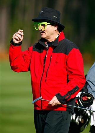 PEBBLE BEACH, CA - FEBRUARY 12:  Bill Murray puts on glasses as he walks up to the sixth green during the first round of the AT&T Pebble Beach National Pro-Am at the Spyglass Hill Golf Course on February 12, 2009 in Pebble Beach, California.  (Photo by Jeff Gross/Getty Images)