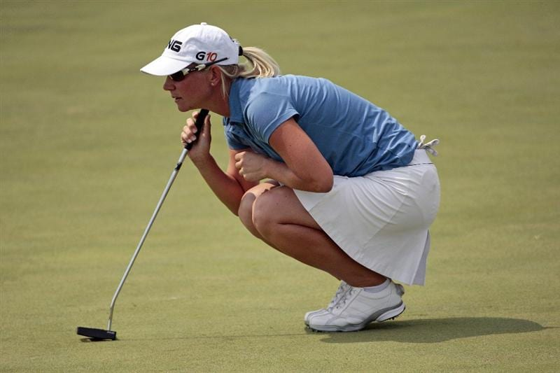 PRATTVILLE, AL - SEPTEMBER 28:   Louise Friberg of Sweden lines up her putt on the first green during final round play in the Navistar LPGA Classic at the Robert Trent Jones Golf Trail at Capitol Hill on September 28, 2008 in Prattville, Alabama.  (Photo by Dave Martin/Getty Images)