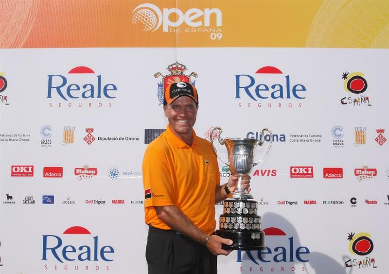 GIRONA, SPAIN - MAY 03:  Thomas Levet of France poses with the trophy after winning the Open de Espana on a score of -18 under par at the PGA Golf Catalunya on May 3, 2009 in Girona, Spain.  (Photo by Warren Little/Getty Images)