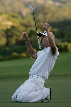 KAPALUA, HI - JANUARY 06:  Daniel Chopra of Sweden reacts after missing a birdie putt on the second playoff hole during the final round of the Mercedes-Benz Championship on at the Plantation Course January 6, 2008 in Kapalua, Maui, Hawaii.  (Photo by Jeff Gross/Getty Images)
