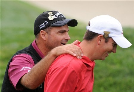 SAN DIEGO - JUNE 13:  Rocco Mediate walks off the 18th green with Amateur Michael Thompson during the second round of the 108th U.S. Open at the Torrey Pines Golf Course (South Course) on June 13, 2008 in San Diego, California.  (Photo by Harry How/Getty Images)