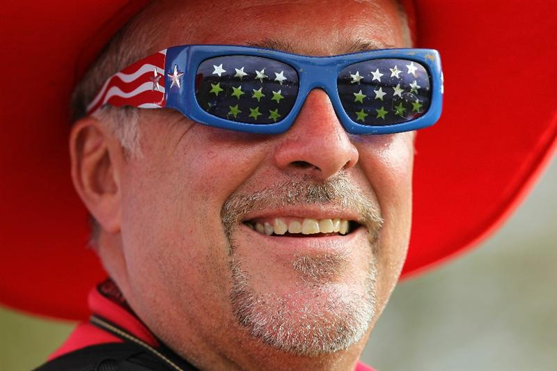 NEWPORT, WALES - OCTOBER 02:  A USA fan enjoys the action during the rescheduled Afternoon Foursome Matches during the 2010 Ryder Cup at the Celtic Manor Resort on October 2, 2010 in Newport, Wales. (Photo by Andy Lyons/Getty Images)