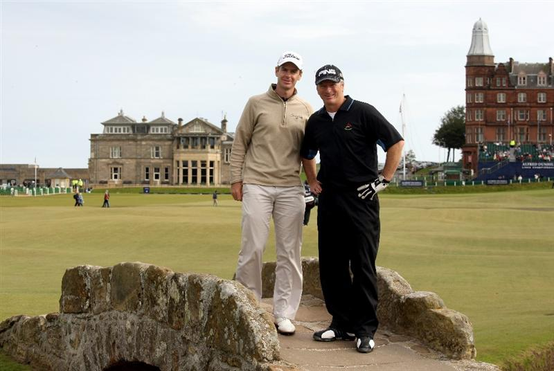 ST ANDREWS, SCOTLAND - OCTOBER 05:  Former Australian cricket captain Steve Waugh with his playing partner Scott Strange of Australia on the Swilken Bridge on the 18th hole during the final round of The Alfred Dunhill Links Championship at The Old Course on October 5, 2009 in St.Andrews, Scotland.  (Photo by Warren Little/Getty Images)