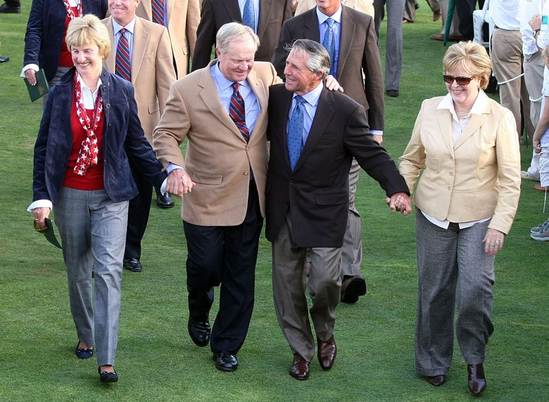 Jack and Barbara Nicklaus (L) and Gary and Vivienne Player (R)