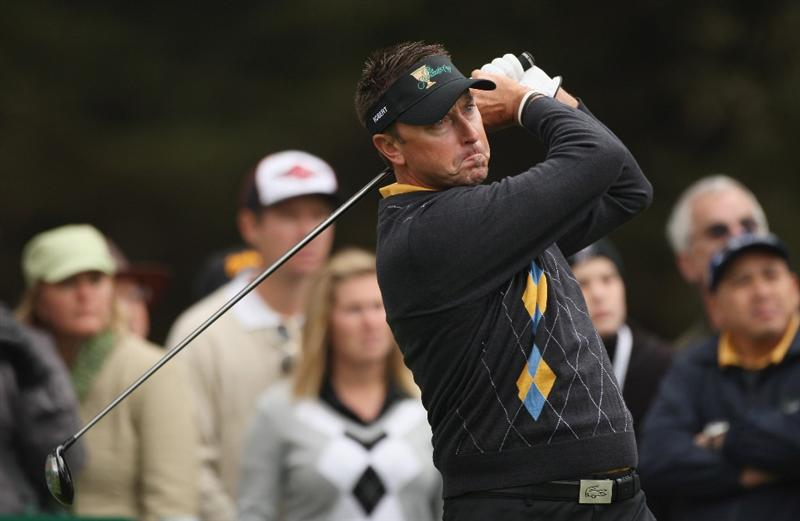 SAN FRANCISCO - OCTOBER 11:  Robert Allenby of the International Team tees off on the sixth hole during the Day Four Singles Matches of The Presidents Cup at Harding Park Golf Course on October 11, 2009 in San Francisco, California.  (Photo by Warren Little/Getty Images)