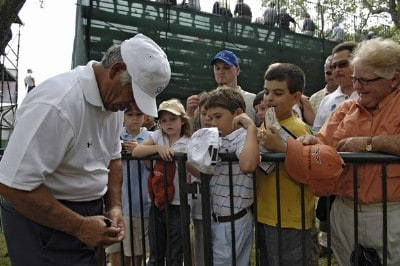 Lee Trevino greets fans during the first round of the FedEx Kinko's Classic held at The Hills Country Club in Austin, TX, on April 28, 2006. Photo by: Steve Levin/WireImage.com