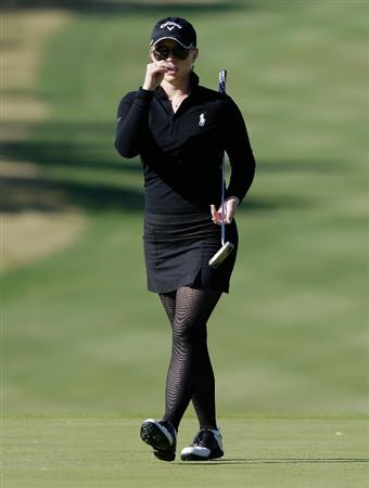 SHIMA, JAPAN - NOVEMBER 05:  Morgan Pressel of the United States on the 1st hole during round one of the Mizuno Classic at Kintetsu Kashikojima Country Club on November 5, 2010 in Shima, Japan.  (Photo by Chung Sung-Jun/Getty Images)
