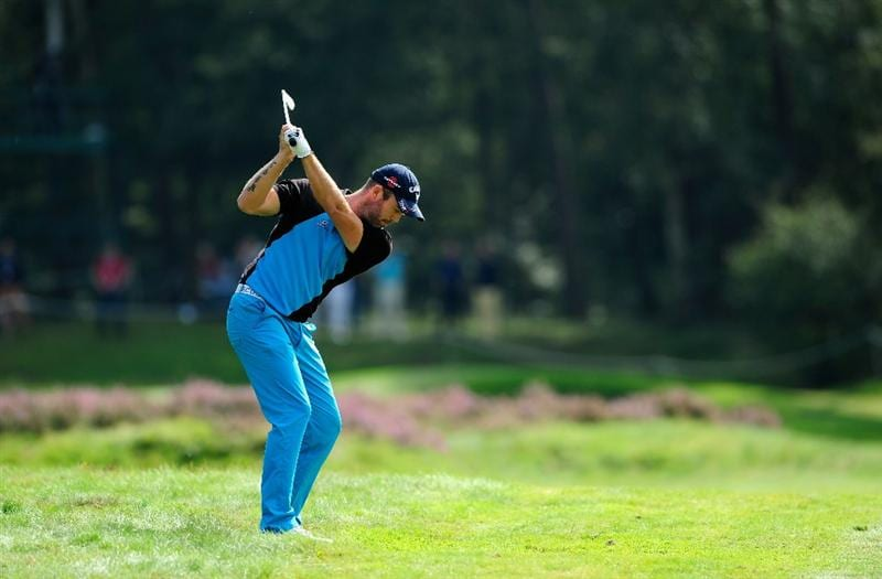 HILVERSUM, NETHERLANDS - SEPTEMBER 11:  Christian Nilsson of Sweden plays his approach shot on the sixth hole during the third round of  The KLM Open Golf at The Hillversumsche Golf Club on September 11, 2010 in Hilversum, Netherlands.  (Photo by Stuart Franklin/Getty Images)