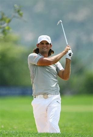 NELSPRUIT, SOUTH AFRICA - DECEMBER 13:  Johan Edfors of Sweden plays out of the 15th fairway bunker during the third round of the Alfred Dunhill Championship at Leopard Creek Country Club on December 13, 2008 in Malelane, South Africa.  (Photo by Warren Little/Getty Images)