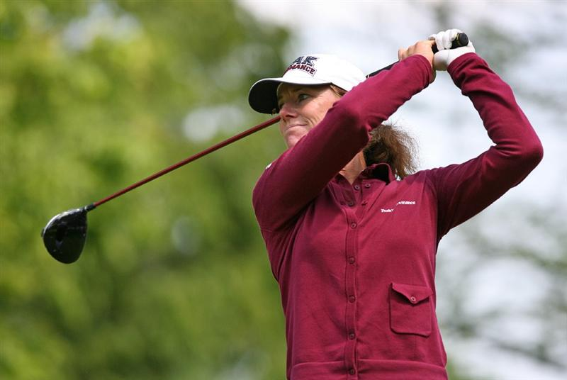 CLIFTON, NJ - MAY 15 : Helen Alfredsson of Sweden hits her tee shot on the 9th hole during the second round of the Sybase Classic presented by ShopRite at Upper Montclair Country Club on May 15, 2009 in Clifton, New Jersey. (Photo by Hunter Martin/Getty Images)