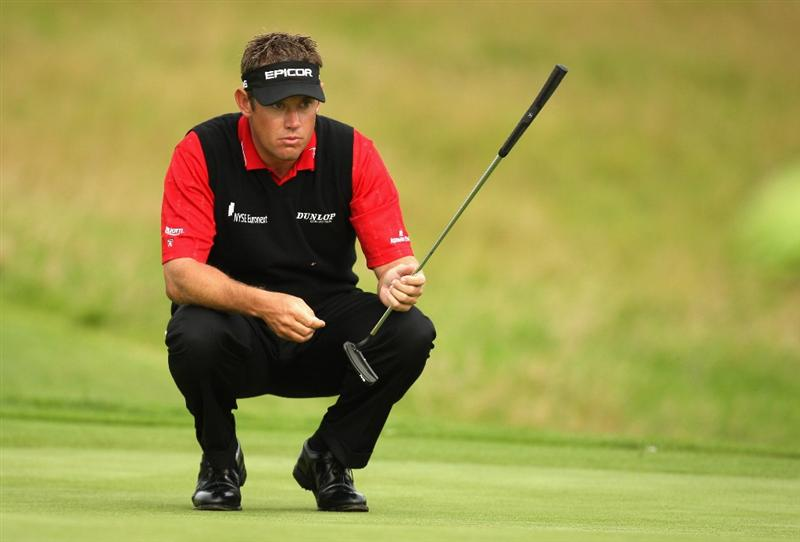 PERTH, UNITED KINGDOM - AUGUST 28:  Lee Westwood of England on the par four 15th hole during the first round of The Johnnie Walker Championship at Gleneagles on August 28, 2008 at the Gleneagles Hotel and Resort in Perthshire, Scotland.  (Photo by Ross Kinnaird/Getty Images)