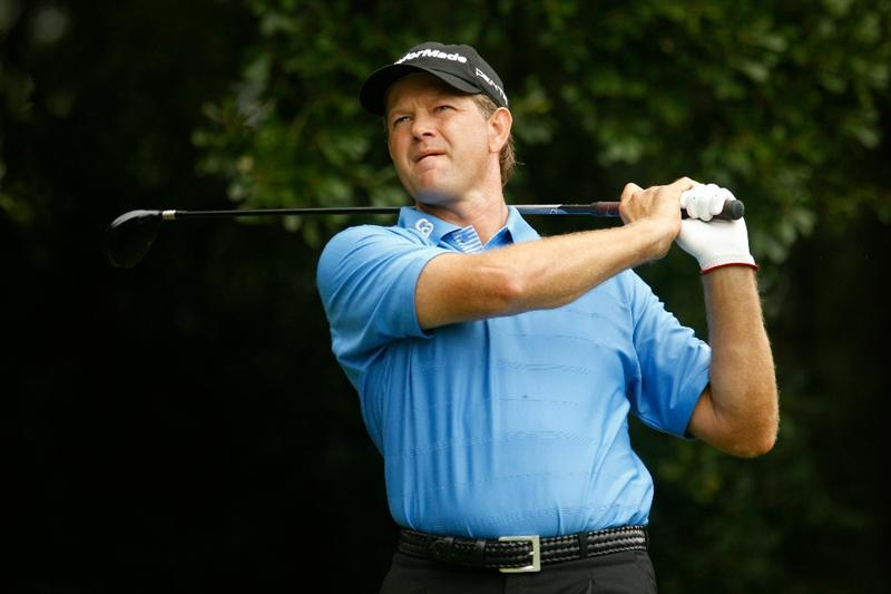 ATLANTA - SEPTEMBER 26:  Retief Goosen of South Africa watches his tee shot on the third hole during the final round of THE TOUR Championship presented by Coca-Cola at East Lake Golf Club on September 26, 2010 in Atlanta, Georgia.  (Photo by Scott Halleran/Getty Images)