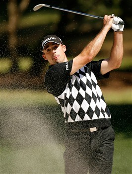 HILTON HEAD, SC - APRIL 17:  Jonathan Byrd watches his shot from the sand on the 12th hole during the first round of the Verizon Heritage at Harbour Town Golf Links on April 17, 2008 in Hilton Head, South Carolina.  (Photo by Streeter Lecka/Getty Images)