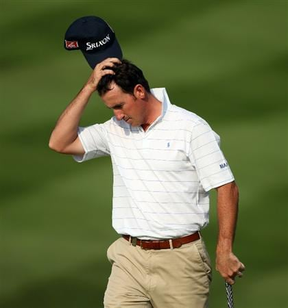 NEWPORT, WALES - JUNE 04:  Gonzalo Fernandez-Castano of Spain looks dejected on the 18th hole during the second round of the Celtic Manor Wales Open on The Twenty Ten Course at The Celtic Manor Resort on June 4, 2010 in Newport, Wales.  (Photo by Andrew Redington/Getty Images)