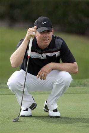 PALM BEACH GARDENS, FL - MARCH 03:  Justin Leonard plays a shot on the 14th hole during the first round of The Honda Classic at PGA National Resort and Spa on March 3, 2011 in Palm Beach Gardens, Florida.  (Photo by Sam Greenwood/Getty Images)