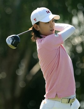 REUNION, FLORIDA - APRIL 17:  Na Yeon Choi of South Korea watches her tee shot on the 18th hole during the first round of the Ginn Open at Reunion Resort April 17, 2008 in Reunion, Florida.  (Photo by Scott Halleran/Getty Images)