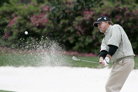 Andrew Magee chips out of a bunker around the 7th green during the first round of the MCI Heritage at Harbour Town Golf Links April 14, 2005, at Hilton Head Island.Photo by Al Messerschmidt/WireImage.com