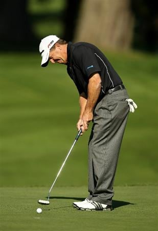 SAN FRANCISCO - NOVEMBER 06:  Fred Funk putts on the 5th hole during round 3 of the Charles Schwab Cup Championship at Harding Park Golf Course on November 6, 2010 in San Francisco, California.  (Photo by Ezra Shaw/Getty Images)