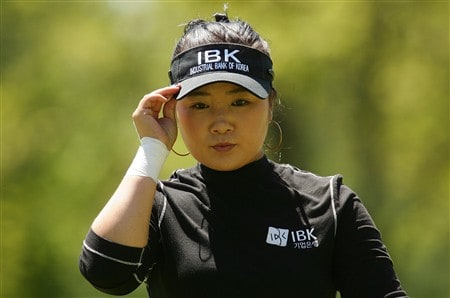 CORNING, NY - MAY 25:   Jeong Jang of South Korea reaches for her ballmark on the 11th green during the final round of the LPGA Corning Classic at Corning Country Club on May 25, 2008 in Corning, New York.  (Photo by Kyle Auclair/Getty Images)