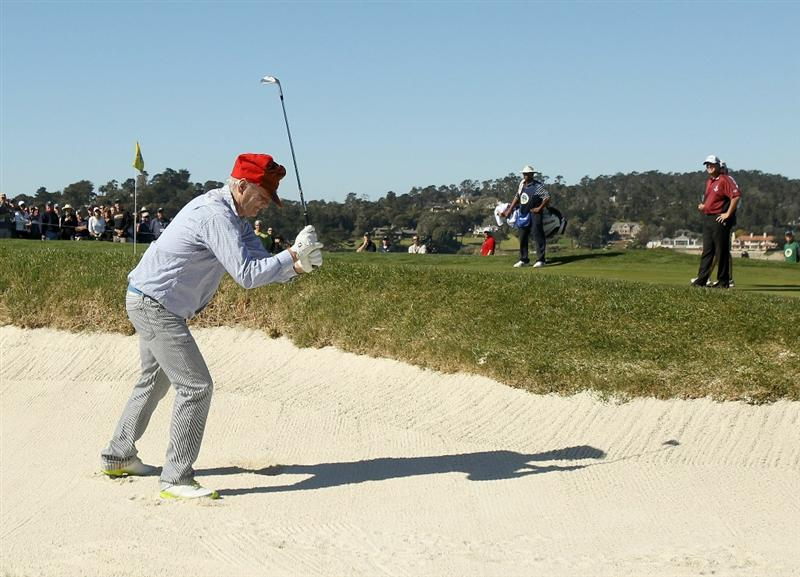 PEBBLE BEACH, CA - FEBRUARY 12:  Actor Bill Murray smashes his club in the bunker on the 6th hole during the third round of the AT&T Pebble Beach National Pro-Am at the Pebble Beach Golf Links on February 12, 2011 in Pebble Beach, California.  (Photo by Ezra Shaw/Getty Images)