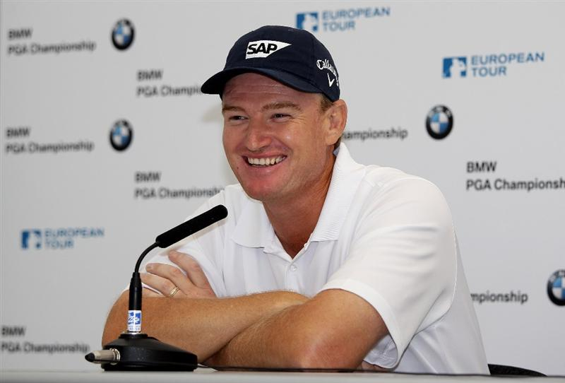 VIRGINIA WATER, ENGLAND - MAY 18:  Ernie Els of South Africa answers questions from the media at a press conference prior to the BMW PGA Championship on the West Course at Wentworth on May 18, 2010 in Virginia Water, England.  (Photo by Andrew Redington/Getty Images)