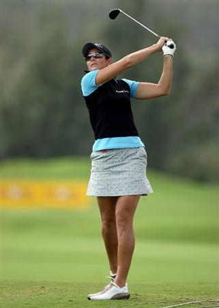 KAHUKU, HI - FEBRUARY 12:  Laura Diaz hits her second shot on the 9th hole during the first round of the SBS Open on February 12, 2009  at the Turtle Bay Resort in Kahuku, Hawaii.  (Photo by Andy Lyons/Getty Images)