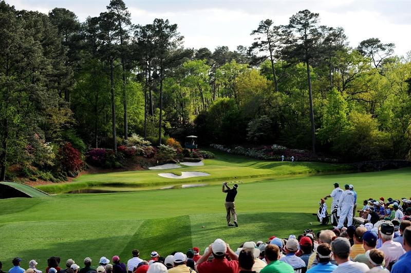 AUGUSTA, GA - APRIL 11:  Kenny Perry watches his tee shot on the 12th hole during the third round of the 2009 Masters Tournament at Augusta National Golf Club on April 11, 2009 in Augusta, Georgia.  (Photo by Harry How/Getty Images)