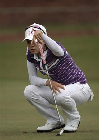 MOBILE, AL - MAY 16:  Na Yeon Choi of South Korea lines up her putt on the second green during final round play in the Bell Micro LPGA Classic at the Magnolia Grove Golf Course on May 16, 2010 in Mobile, Alabama.  (Photo by Dave Martin/Getty Images)