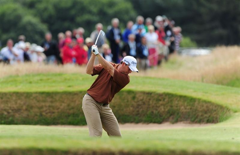 TURNBERRY, SCOTLAND - JULY 16:  David Howell of England  hits an approach shot during round one of the 138th Open Championship on the Ailsa Course, Turnberry Golf Club on July 16, 2009 in Turnberry, Scotland.  (Photo by Stuart Franklin/Getty Images)