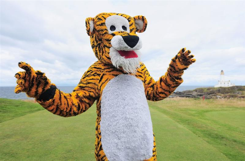 TURNBERRY, SCOTLAND - JULY 18:  A golf fan in a Tiger costume enjoys the atmosphere during round three of the 138th Open Championship on the Ailsa Course, Turnberry Golf Club on July 18, 2009 in Turnberry, Scotland.  (Photo by Stuart Franklin/Getty Images)