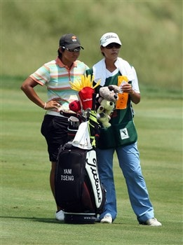 HAVRE DE GRACE, MD - JUNE 08:  Yani Tseng of Taiwan prepares to hit her second shot at the 1st hole during the final round of the 2008 McDonald's LPGA Championship held at Bulle Rock Golf Course, on June 8, 2008 in Havre de Grace, Maryland.  (Photo by David Cannon/Getty Images)
