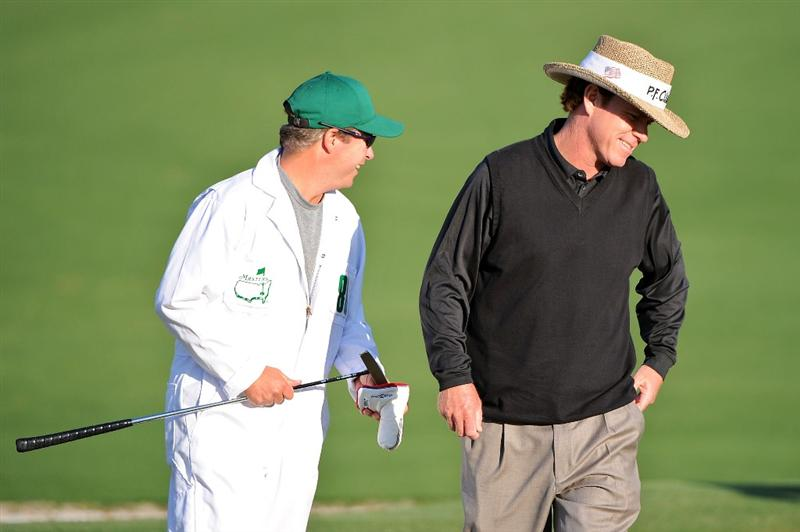 AUGUSTA, GA - APRIL 09:  Briny Baird waits with his caddie Corby Segal on the second green during the first round of the 2009 Masters Tournament at Augusta National Golf Club on April 9, 2009 in Augusta, Georgia.  (Photo by Harry How/Getty Images)